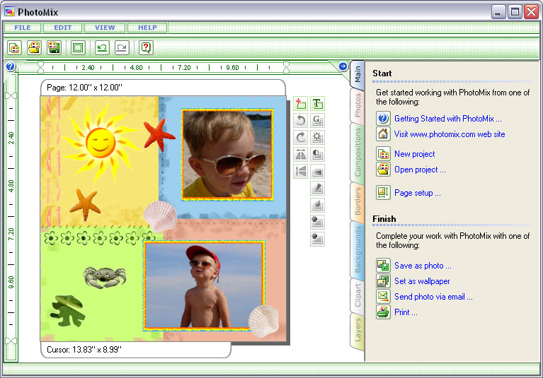 PhotoMix - digital scrapbooking and photo collage software.