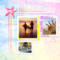 "Scrapbook template ""Surfing #06"" in ""Summer Vacation"""