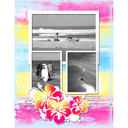 "Scrapbook template ""Surfing #07"" in ""Summer Vacation"""