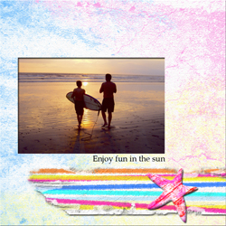 "Scrapbook template ""Surfing #02"" in ""Summer Vacation"""