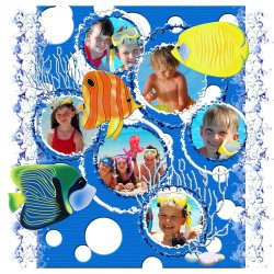 "Scrapbook template ""Tropical Fishes #4"" in ""Summer Vacation"""