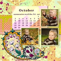 "Scrapbook template ""October #02"" in ""Calendars 2011"""