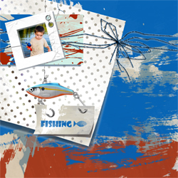 "Scrapbook template ""Fishing #10"" in ""Summer Vacation"""
