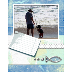 "Scrapbook template ""Fishing #05"" in ""Summer Vacation"""