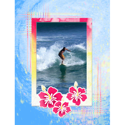 "Scrapbook template ""Surfing #05"" in ""Summer Vacation"""