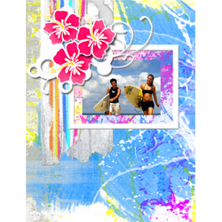 "Scrapbook template ""Surfing #17"" in ""Summer Vacation"""