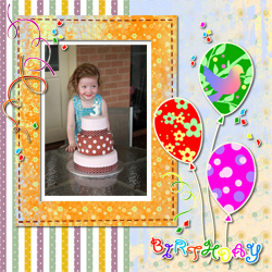 "Scrapbook template ""Birthday party #04"" in ""Birthday Scrapbooking"""