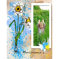"Scrapbook template ""Spring flowers #09"" in ""Spring"""