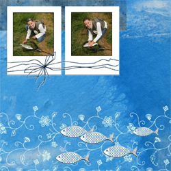 "Scrapbook template ""Fishing #12"" in ""Summer Vacation"""