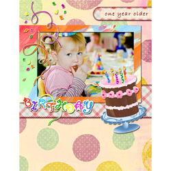 "Scrapbook template ""Birthday party #01"" in ""Birthday Scrapbooking"""