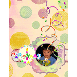 "Scrapbook template ""Birthday party #03"" in ""Birthday Scrapbooking"""