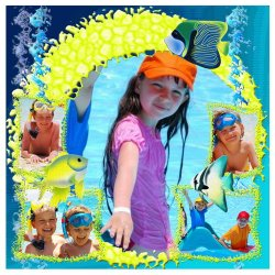 "Scrapbook template ""Tropical Fishes #5"" in ""Summer Vacation"""