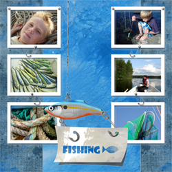 "Scrapbook template ""Fishing #14"" in ""Summer Vacation"""
