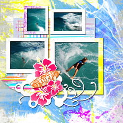 "Scrapbook template ""Surfing #04"" in ""Summer Vacation"""