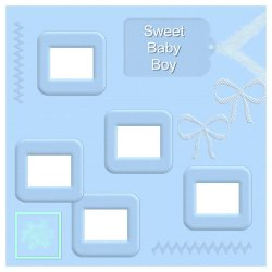 "Scrapbook template ""Sweet Baby Boy #6"" in ""Baby Scrapbooking"""