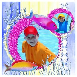 "Scrapbook template ""Tropical Fishes #2"" in ""Summer Vacation"""