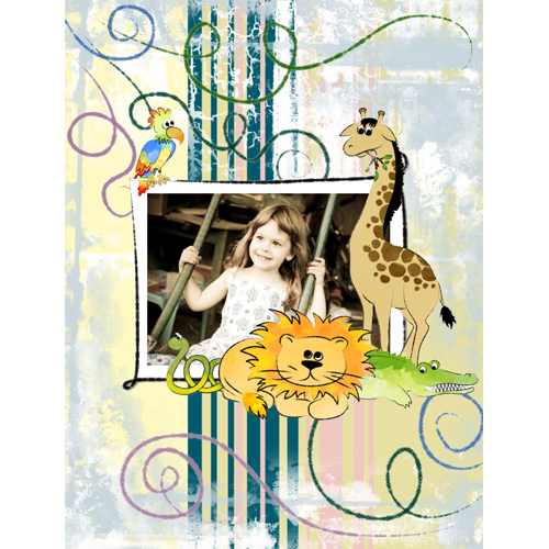 "Scrapbook template ""Funny zoo #17"" in ""Family"""