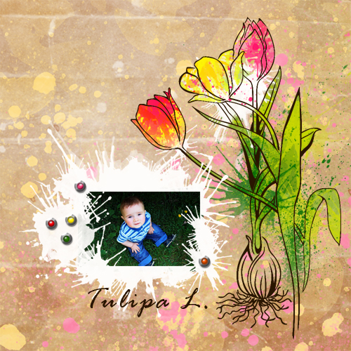 "Scrapbook template ""Spring flowers #10"" in ""Spring"""