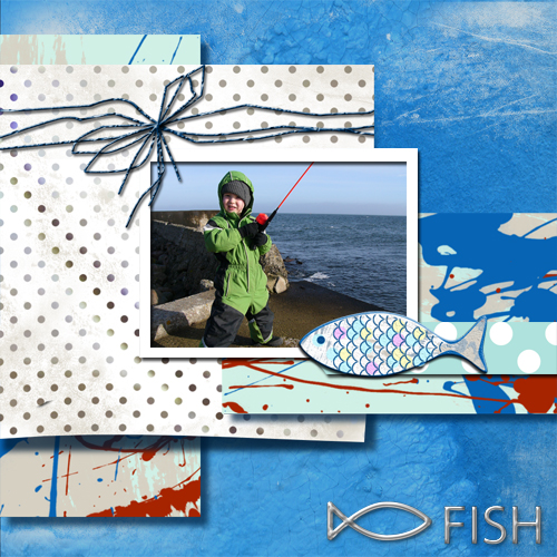 "Scrapbook template ""Fishing #06"" in ""Summer Vacation"""