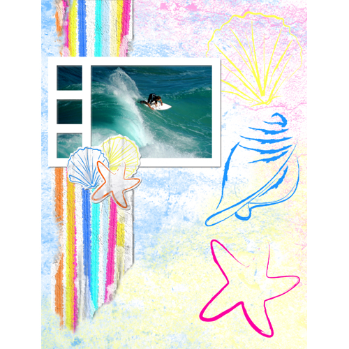 "Scrapbook template ""Surfing #11"" in ""Summer Vacation"""