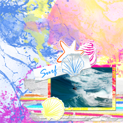 "Scrapbook template ""Surfing #12"" in ""Summer Vacation"""