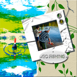 "Scrapbook template ""Fishing #02"" in ""Summer Vacation"""