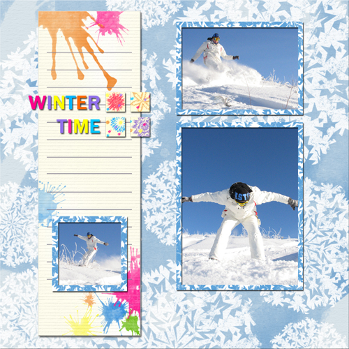 "Scrapbook template ""Winter time #16"" in ""Winter Vacation"""