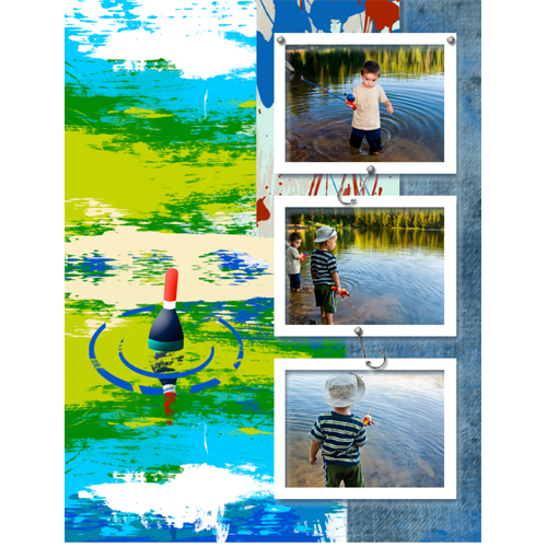 "Scrapbook template ""Fishing #17"" in ""Summer Vacation"""