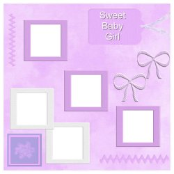 "Scrapbook template ""Sweet Baby Girl #6"" in ""Baby Scrapbooking"""