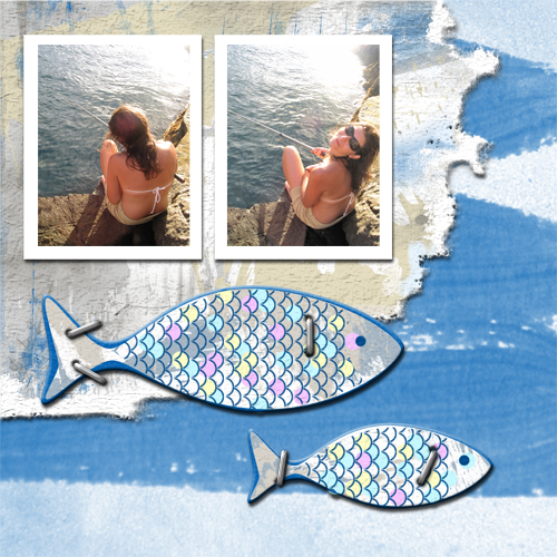 "Scrapbook template ""Fishing #04"" in ""Summer Vacation"""