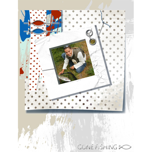 "Scrapbook template ""Fishing #19"" in ""Summer Vacation"""