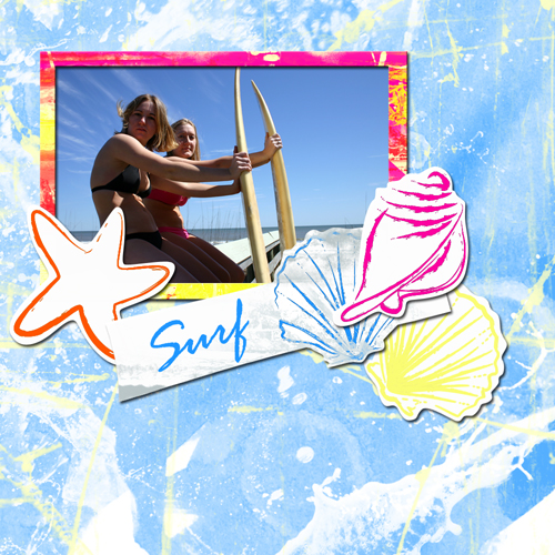 "Scrapbook template ""Surfing #08"" in ""Summer Vacation"""