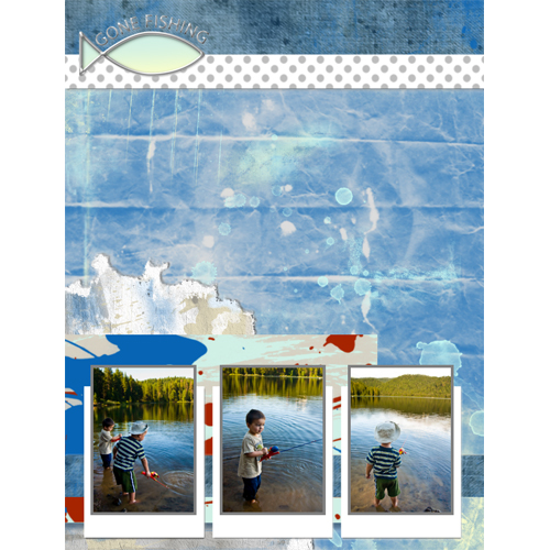 "Scrapbook template ""Fishing #13"" in ""Summer Vacation"""