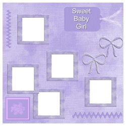 "Scrapbook template ""Sweet Baby Girl #5"" in ""Baby Scrapbooking"""