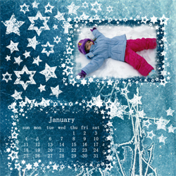 "Scrapbook template ""January #12"" in ""Calendars 2009"""