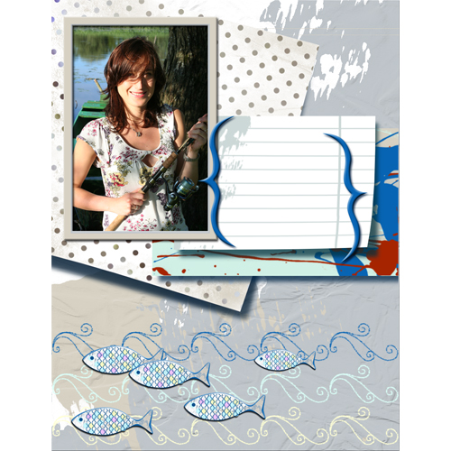 "Scrapbook template ""Fishing #07"" in ""Summer Vacation"""